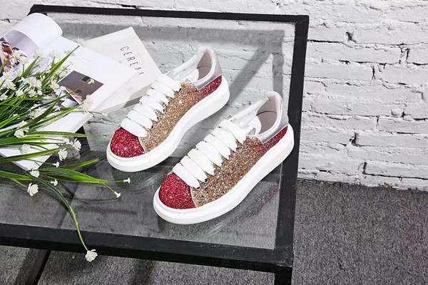 """2019 new arrival design women and men shoes blend mixed color Casual walking sneakers upper layer of cowhide size:35-44"""""""