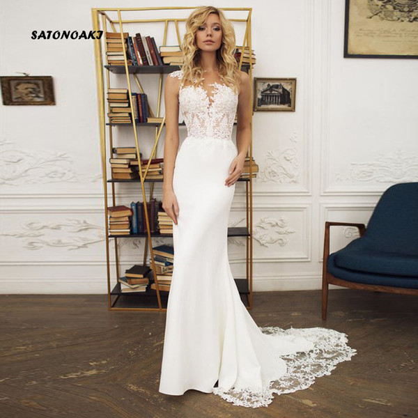 Boho Wedding dress 2019 O-Neck Appliques Lace Mermaid Wedding Gown with Small Train Sexy Bride Dress Back See Through