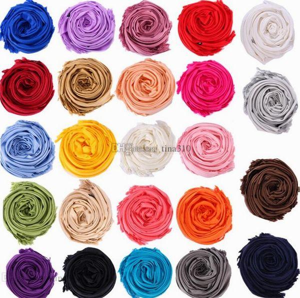 La dernière mode écharpe polyvalente de couleur unie frangé châle célébration cadeau promotionnel écharpe pour hommes et femmes T10C007