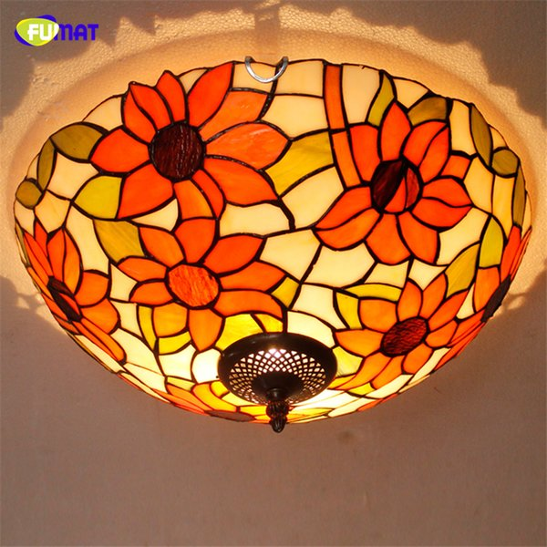 FUMAT European Pastoral Tiffany Ceiling Lamps LED Dragonfly Shade Lamps Living room Stained Glass Ceiling Lights For Bed Room
