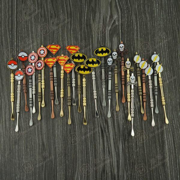 Dabber-Werkzeug mit modischer Aufkleber Pokeball, Batman, Kapitän, Superheld, Flash und Schädelwachs Dab-Werkzeug 120mm Jars Tool