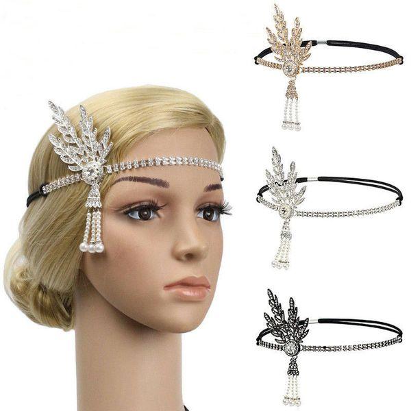 Nuovo Grande Gatsby Hat fascia 1920 Cap capelli d'argento avorio Daisy Vintage Flapper Grande Gatsby Flapper Costume Accessori Dress