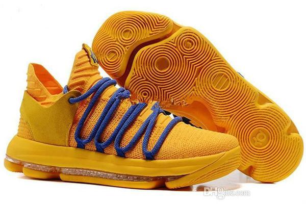 2018 Nouveau Zoom KD 10 Anniversary PE Oreo Rouge Chaussures Homme KD 10 Elite Bas Kevin Durant Grade Ecole Sneakers Couleur orange