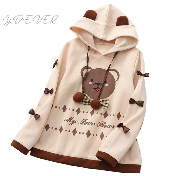 Japanese Women Kawaii Ear Hoodies Fleece Lovely Bear Plaid Bow Pullover Lolita Mori Soft Girls Long Sleeve Round Neck Sweatshirt