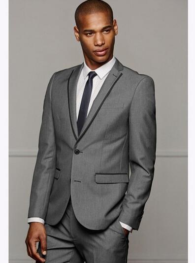 Elegant Grey Mens Suits Slim Fit 2 Pieces Groomsmen Wedding Tuxedos For Men Notch Lapel Formal Prom Suit (Jacket+Pants) Custom Made