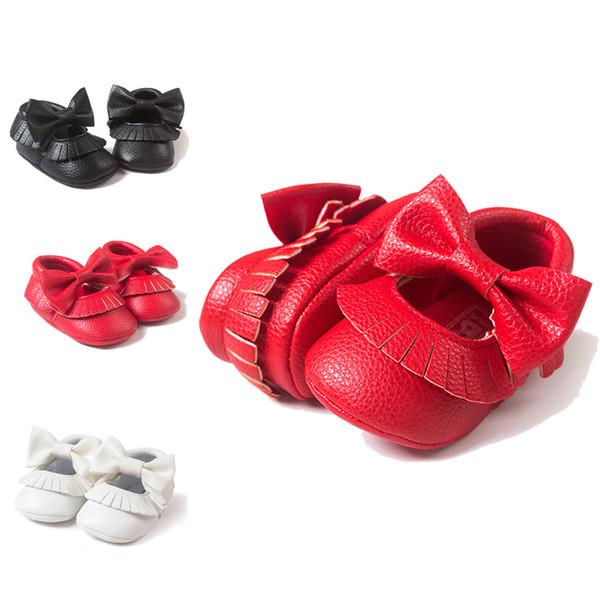 Newborn Baby Girl Bowknot Hook loop Tassels PU Leather Shoes Toddler Soft Sole Anti-slip Sneakers Sweet Girl Princess Crib Shoes