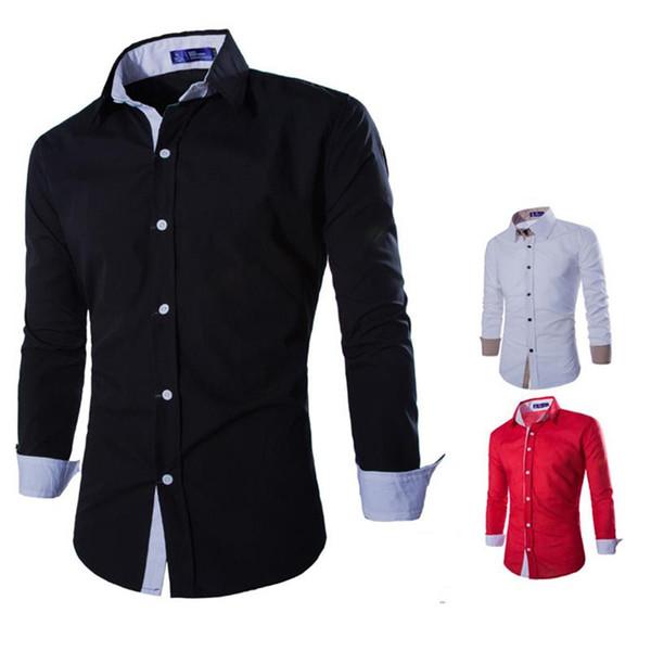 Katı Moda Erkek İş Elbise Gömlek Gündelik Erkek Sosyal Gömlek Uzun Kollu Slim Fit Örgün En Yeni Varış Ofis Bezi Sıcak