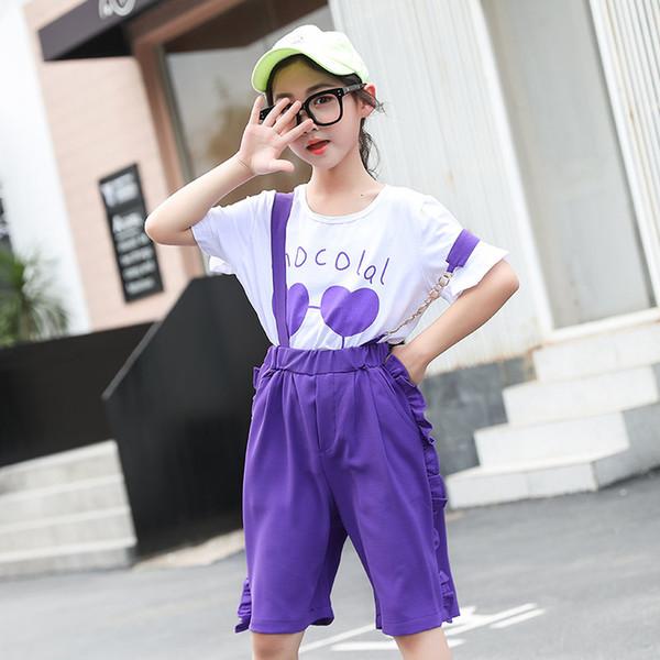Compre Conjunto De Ropa Para Adolescentes Ninas Pantalones Purpuras Con Las Correas De Hombro Amor Corazon Camiseta 2 Piezas Para Adolescentes Moda Juego De Ropa A 19 9 Del Henryk Dhgate Com