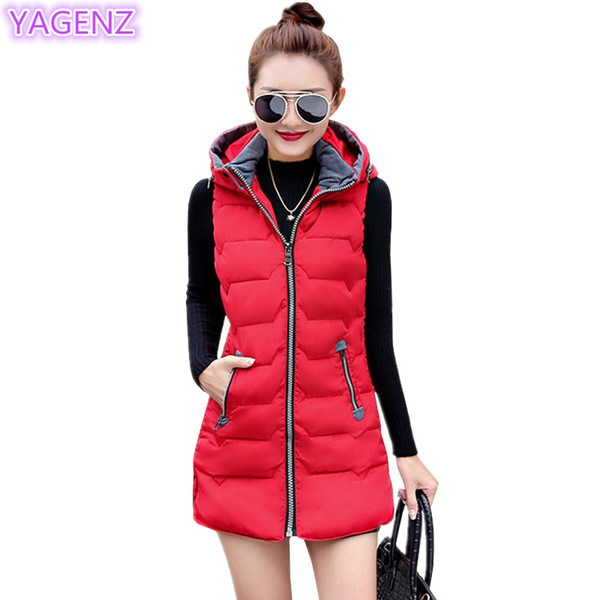 YAGENZ Autumn Winter Womens Vest Long Section Zipper Tops Large Size Women Clothing Hooded Coat Women Fashion Keep Warm Vest 282