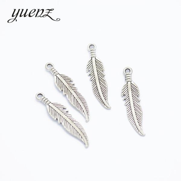 Charms uenZ 30 pezzi d'argento antico piuma pendente del metallo misura la collana del braccialetto dell'orecchino dei monili che fa 27 * 6mm D320 YuenZ 30 pezzi d'antiquariato Sil ...