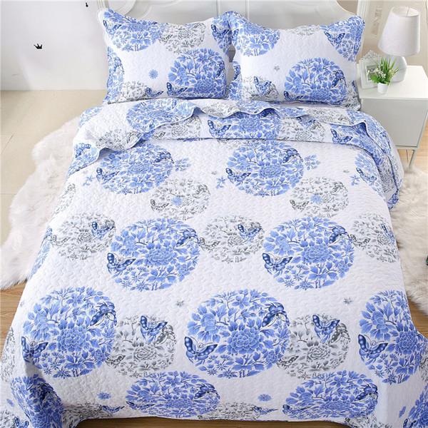Colcha de algodón acolchado de porcelana azul y blanca Queen size 3 piezas Juego de cama Funda de cama Fundas de almohada Ultra suave toda temporada