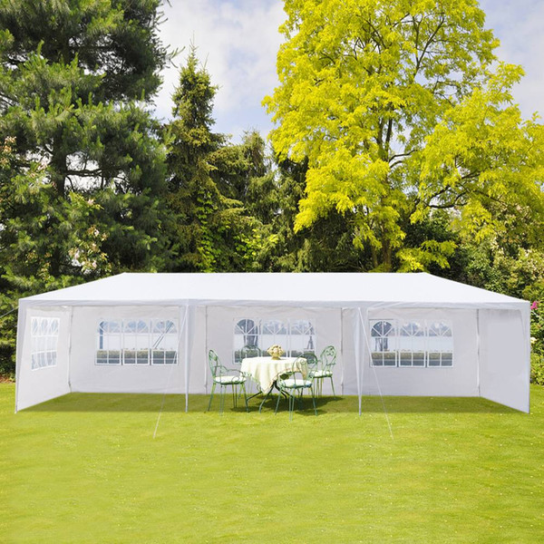 3 x 9m Five Sides Waterproof Single Tent with Spiral Tubes White for Household Wedding Hiking and Camping
