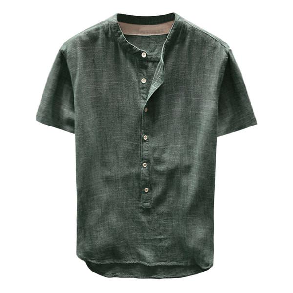 NEUE Mode Sommer Männer T-shirt Solide Taste Leinen und Baumwolle Kurzarm Beiläufige Lose Tops Hombre top M-3XL may23