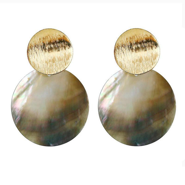 2019 New Fashion Round Shell Drop Dangle Earrings Metal Geometric Earrings For Women Gilrs Ladies Statement Jewelry Gift Wholesale
