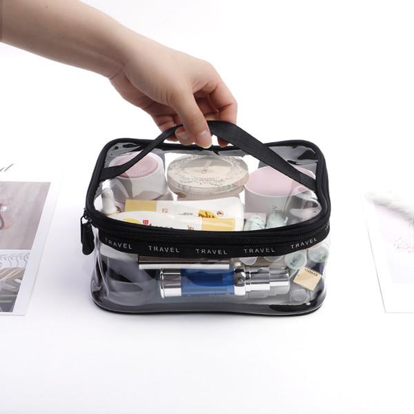 Bolsas de maquillaje transparentes Organizadores de bolsas de artículos de tocador de viaje para viajes de negocios y escuelas Bolsa de almacenamiento de maquillaje cosmético a prueba de agua