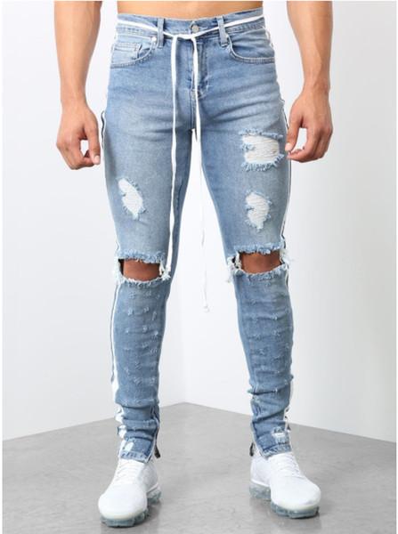 Pantaloni da uomo in jeans con cerniera strappata a righe con cerniera per uomo