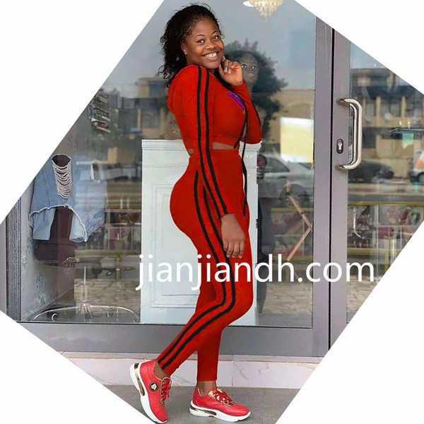 FA7033 bayanlar standart kod Avrupa ve Amerika Birleşik Devletleri high-end sıcak satış set 19 dış ticaret moda şerit kapüşonlu rahat spor takım elbise 719