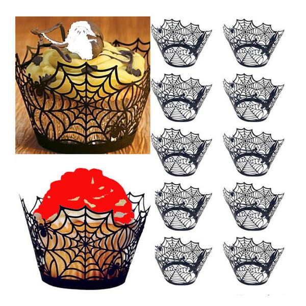 12pcs/set Halloween Cupcake Wrapper Baking Cup Hollow Paper Cake Wrapper Witch Halloween Decoration Party Supplies