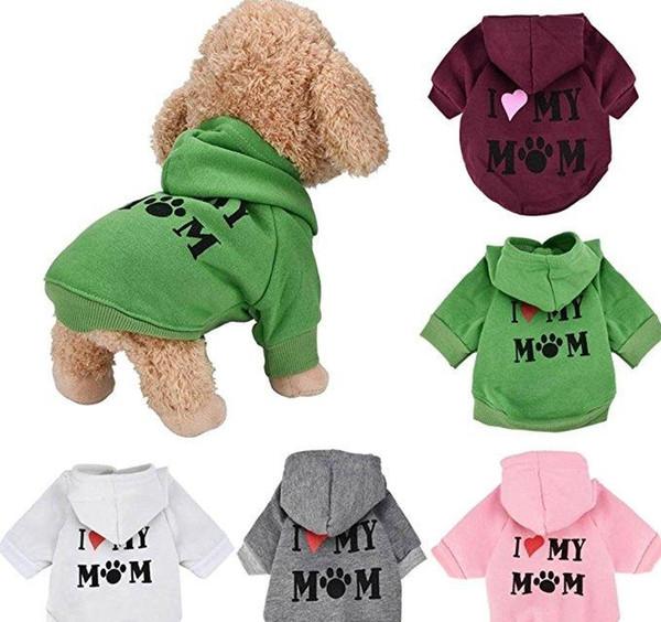 Pet Clothes Puppy Winter Hoodie Sweater Dog Coat Warm Sweatshirt Love My Mom Printed Dog Shirt D0877