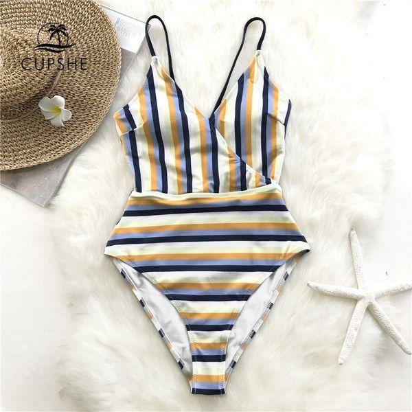 efba97e88e76 Compre CUPSHE Azul Y Amarillo Raya Pierna Alta Corte De Una Pieza Traje De  Baño De Las Mujeres Con Cordones De Monokini 2019 Chica Sexy Beach Traje ...
