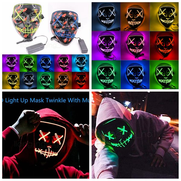 Halloween Masque LED Light Up Party Masks danse party Funny Masks Festival Cosplay Costume Fournitures les accessoires Glow In Dark FFA2927