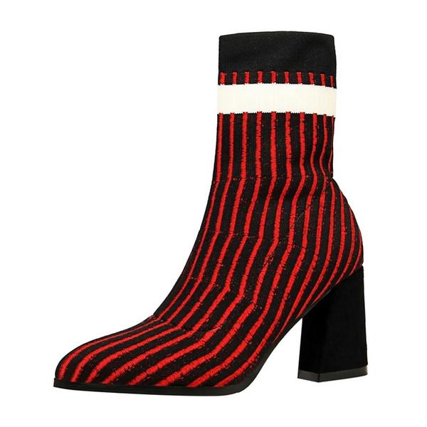 Kış Moda Moda Kısa Çizmeler Kalın ve Yüksek Topuklu Yatay Çizgiler Sıcak Kazak Çizmeler Lüks Ayakkabı Kadın Tasarımcılar