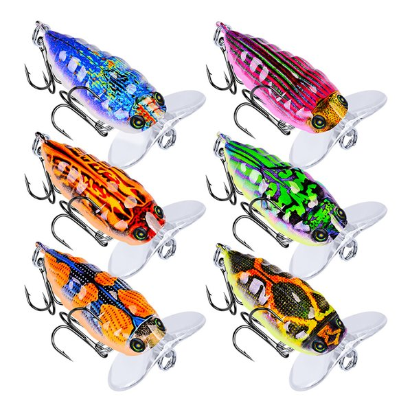 6-color 4cm 4g Cicada Plastic Hard Baits & Lures Fishing Hooks 8# Hook Artificial Bait Pesca Fishing Tackle Accessories