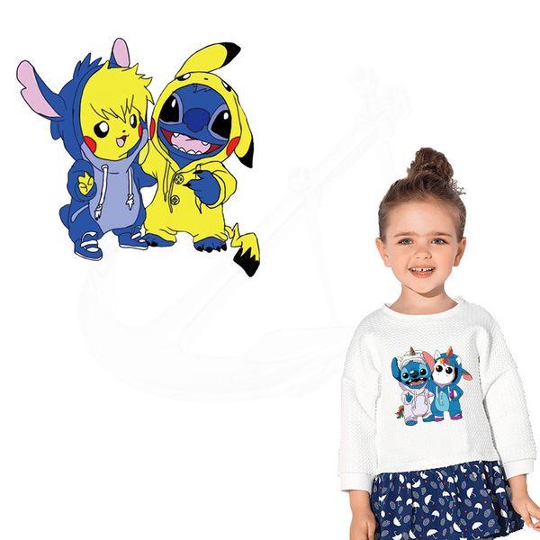 Yeni Dikiş ve Pikachu Demir-On yamalar giysi için DIY Çocuk T-shirt giyim yamalar Termal transfer sticker