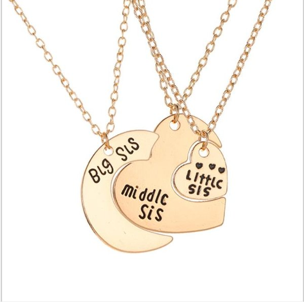Family Love Letter Necklace Three-piece Big, Medium and Small Moon Heart Pendant Necklace