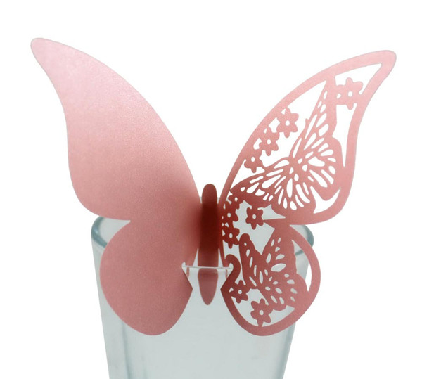 200 pcs/lot Butterfly Laser Cut Paper Place Card / Escort Card / Cup Card/ Wine Glass Card For Wedding Party Decoration