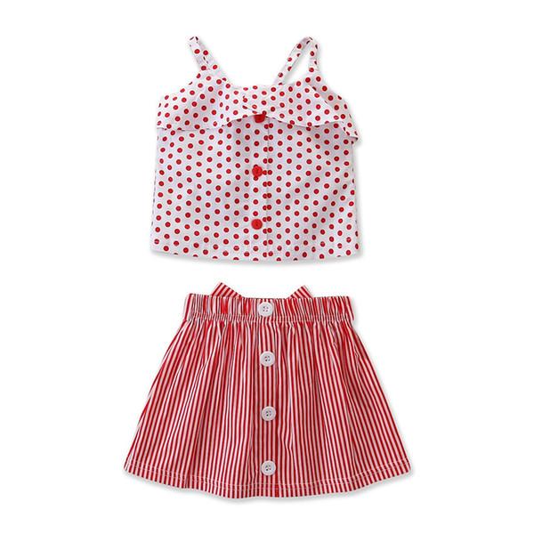 Çocuklar Kızlar 2 Parça Giyim Kıyafetleri Set 2019 Yaz Bebek Kız Polka Dot Fırfır Tops + Çizgili Etek Toddler Kız kıyafet