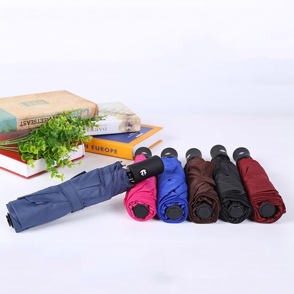 Men Women 8 Bone Rainproof Windproof Umbrellas With Portable Cover Customizable Solid Fully-automatic Three-folding Umbrellas DH0994