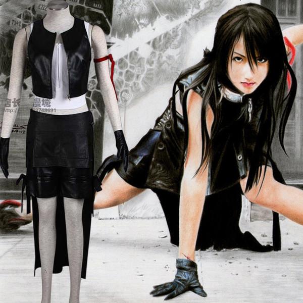 Final Fantasy XIII FF13 Tifa Lockhart Cosplay-Kostüm-Ausstattung volle Satz-Halloween-Kostüme für Frauen / Männer Erwachsenen können nach Maß