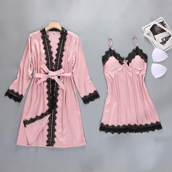 Merletto sexy di seta delle donne abito abito di raso Set di sonno Dress + Accappatoio due pezzi dell'abito del vestito da damigella d'onore Wedding Sleepwear Femme Homewear