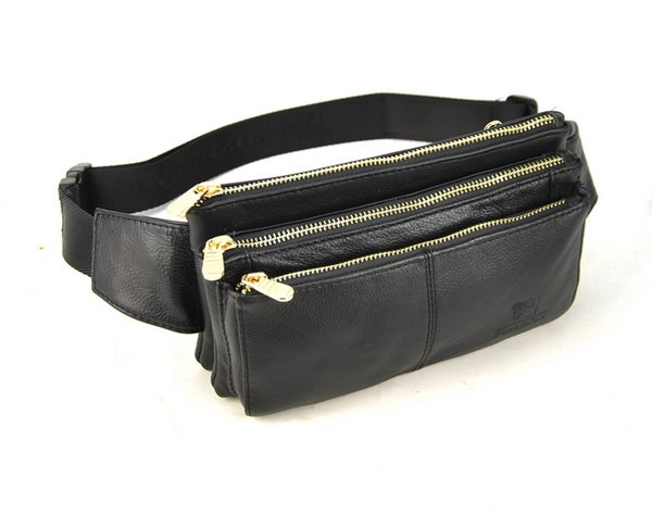 Designer-Men Women Genuine Real Leather Classic Zip Fanny Belt Waist Bag Travel Casual Daily Purse Bum Cellphone Mobile Practical Pouch