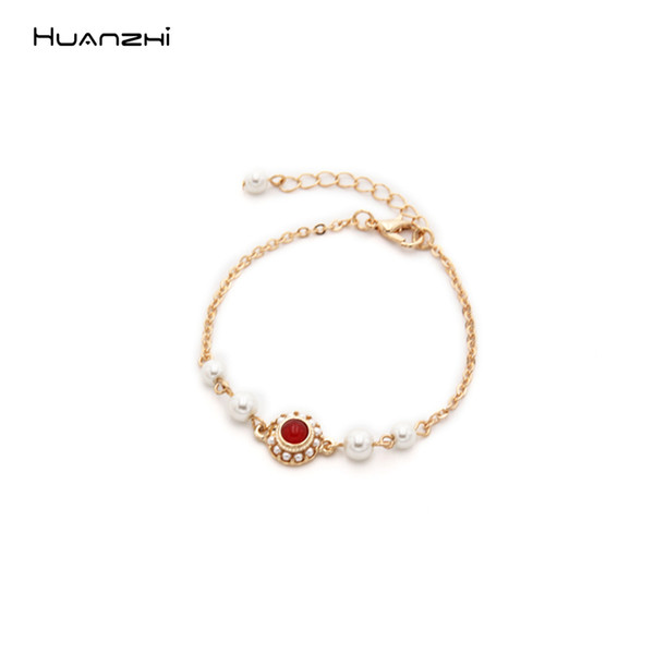 HUANZHI Korean 2019 New Pearl Red Stone Geometric Round Vintage Golden Metal Chain Jewelry Bangle for Women Girls Tourism Party