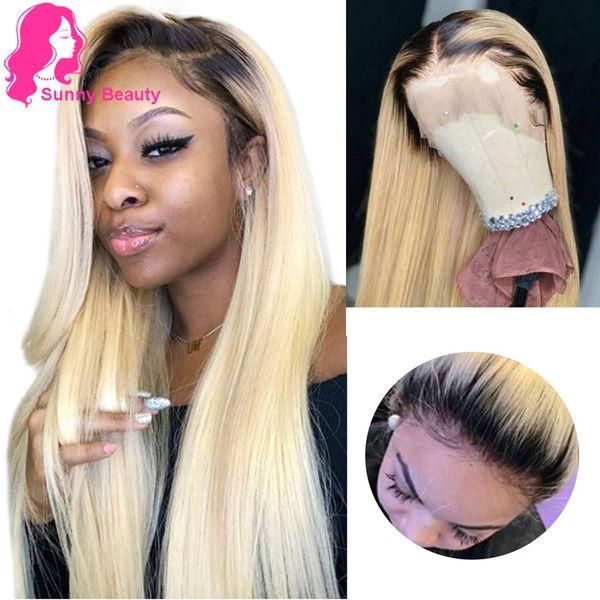 Gaga Queen 1B 613 Demi Perruque 180 Densité Pré Plumée Remy Péruvien Ombre Blonde Avant de Dentelle Droite Perruques de Cheveux Humains avec des cheveux de bébé