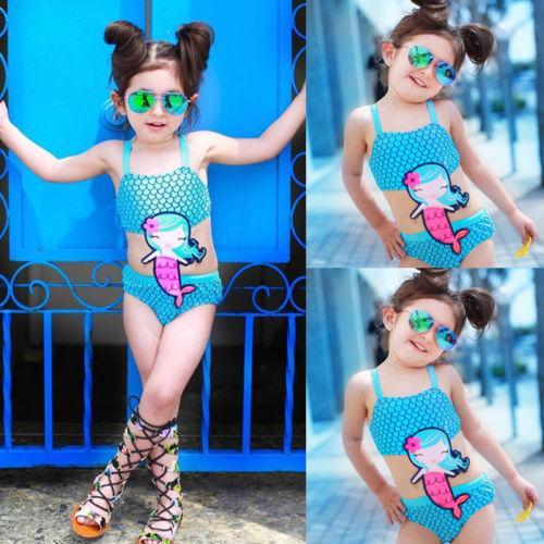 Cute Kids Baby Girls Mermaid One-Piece Suits Embroidery Swimwear Swimsuit Bathing Suit Beachwear Bikini Set