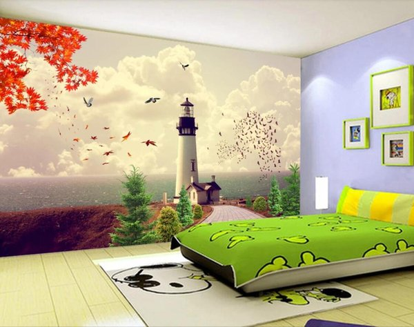 Estilo mediterráneo Sea Lighthouse Wallpaper 3D Wall Mura Photo Wall Papers para niños Niños Dormitorio Papel de contacto impermeable