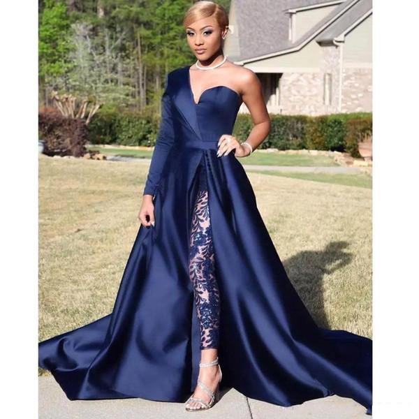 Elegant One Shoulder Long Sleeve Jumpsuit Prom Dresses A Line Navy Blue Front Split Evening Party Gowns Pant Suit Celebrity Dresses