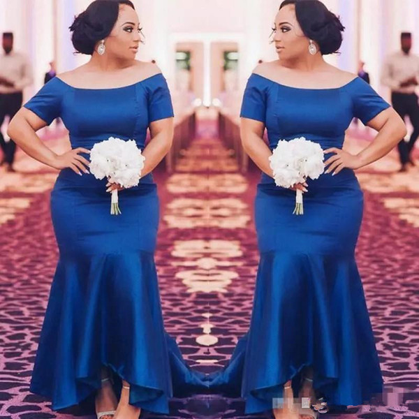 African Royal Blue Plus Size Bridesmaid Dresses 2019 Satin Short Sleeves Mermaid Maid Of Honor Gowns High Low Wedding Guest Prom Party Dress