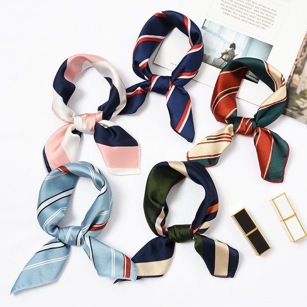 top popular New Elegant Women Square Silk Head Neck Satin Scarf Skinny Retro Hair Tie Band Small Fashion Square Scarf 40 colors A001 2021