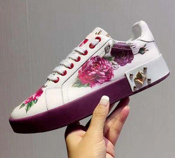 Новые кожаные балетки дизайнер кроссовки женщин классический повседневный роскошный французский бренд фиолетовый розовый обувь чрезвычайно ходьбой бег прочный 002