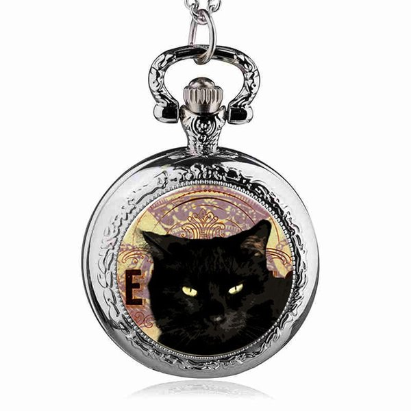 Argent / Noir / Bronze Vintage Steampunk Cat Médaillon Collier Montre De Poche Pendentif Halloween Cadeau Pour Garçons Et Filles TPM034
