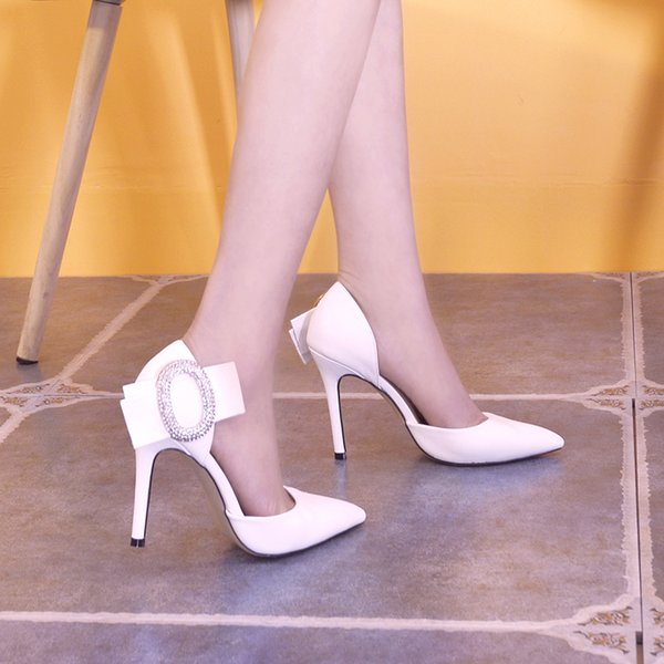 Fairy2019 Rhinestone Bow Sharp High-heeled Shoes Fine With Sexy Red Shallow In The Mouth Air Woman Sandals