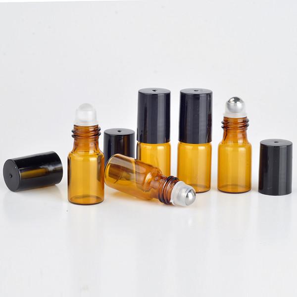 3ML Roll On Portable Amber Glass Bottiglia di profumo riutilizzabile Cassa vuota di olio essenziale con tappo in plastica Roller Roller in acciaio inossidabile
