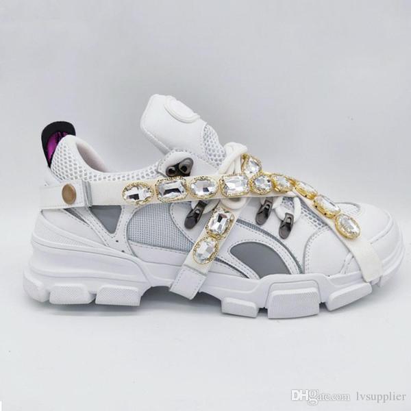 Yeni Çıkarılabilir Kristaller ile Flashtrek Sneaker Erkek Lüks Tasarımcı Ayakkabı Rahat Moda Lüks Tasarımcı Bayan Ayakkabı Sneakers Boyutu 35-45
