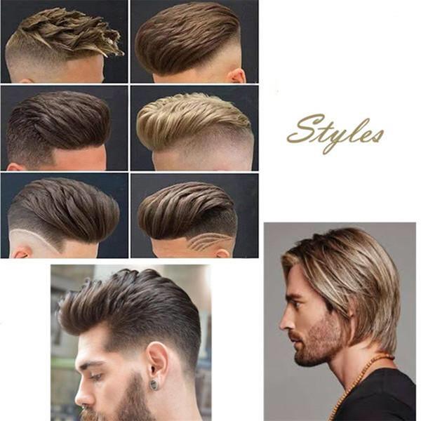 İnsan Saç Dayanıklı Hairpieces Erkekler Için Dantel Ince PU Değiştirme Sistemi Toupees İnsan Saç Dayanıklı Hairpieces Dantel PU