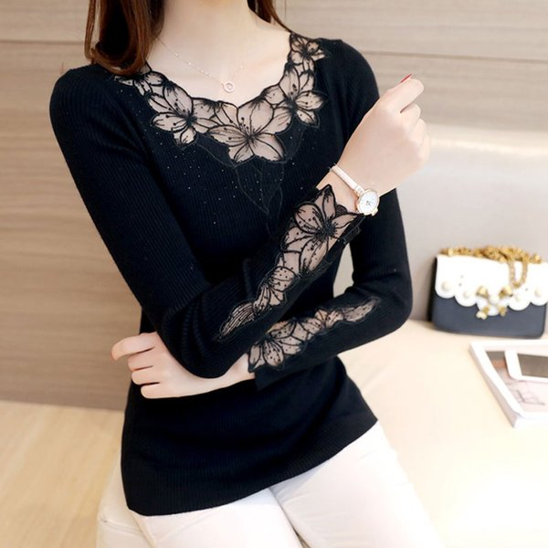 2017 Spring Autumn Womn Sweaters and Pullovers Knitted See Through Slim Lace Floral Sweater Pull Femme Sueter Mujer
