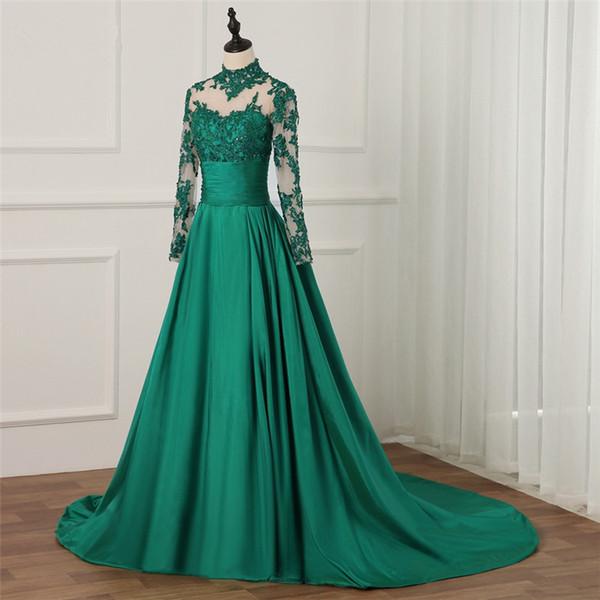 Compre Vestido De Noche Largo Verde Esmeralda 2018 Cuello Alto Mangas Largas Apliques De Encaje Mujeres Sexy Formal Pageant Vestido Para Fiesta De